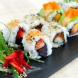 Selection of uramaki pieces. — 图库照片