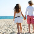 Boy and girl looking at sea. — Stock Photo