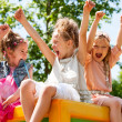 Stock Photo: Young girls shouting and raising arms outdoors.