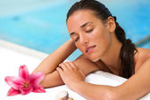 Close up of attractive female in spa pool. — Stock Photo
