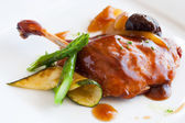 Grilled duck with sweet fruit sauce. — Stock Photo