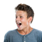 Surprised boy looking sideways. — Stock Photo