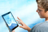 Teen student navigating on tablet. — Stock Photo
