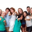 Stock Photo: Group of students doing thumbs up.