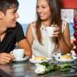 Couple on romantic coffee date. — Stock Photo