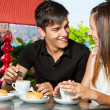 Happy couple having coffe together. — Stock Photo
