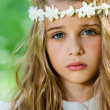 Face shot of cute girl with headband. — Stock Photo