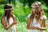 Two girls standing in flower field. — Stock Photo