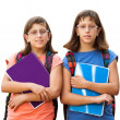 Two handicapped students with notebooks. — Stock Photo