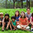 Stock Photo: Diversity portrait of kids outdoors.