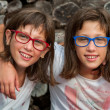 Two young handicapped twins. — Stock Photo