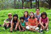 Diversity portrait of kids outdoors. — Stock Photo
