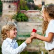 Youngster declaring love to girlfriend. — Stockfoto