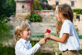 Youngster declaring love to girlfriend. — Stock Photo