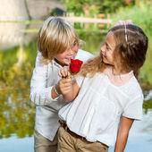 Boy surprising girl with flower. — Stockfoto