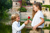 Romantic moment at lakeside. — Stock Photo