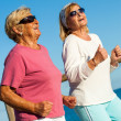 Happy senior ladies jogging together. — Stock Photo