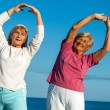 Senior women stretching arms outdoors. — Stock Photo