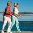 Stock Photo: Senior ladies jogging at seaside.