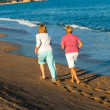 Rear view of women jogging on beach. — Stock Photo