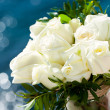 White rose bouquet against blue background. — Stock Photo