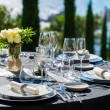 Elegant served table outdoors. — Stock Photo