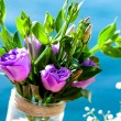 Violet rose bouquet outdoors. — Stock Photo #35788455