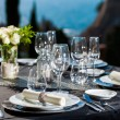 Detail of served table outdoors. — Stock Photo