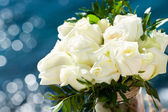 White rose bouquet against blue background. — Photo