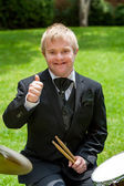 Handicapped drummer showing thumbs up. — Stock Photo