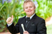 Disabled musician doing thumbs up. — Stock Photo