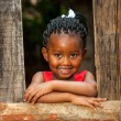 Little african girl leaning on wooden fence. — Stock Photo #38835455