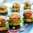 Multiple min beef hamburgers. — Stock Photo