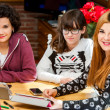 Stock Photo: Portrait of three young female students at desk.