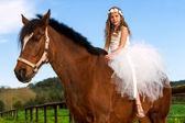 Sweet girl riding horse. — 图库照片
