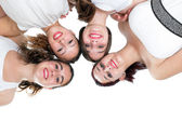 Foursome girlfriends joining heads. — Foto Stock