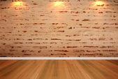 Empty room brick wall — Stok fotoğraf
