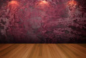 Empty room red cement wall — Foto Stock