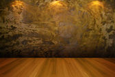 Empty room gold cement wall — Stock Photo