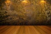 Muro di cemento oro stanza vuota — Foto Stock