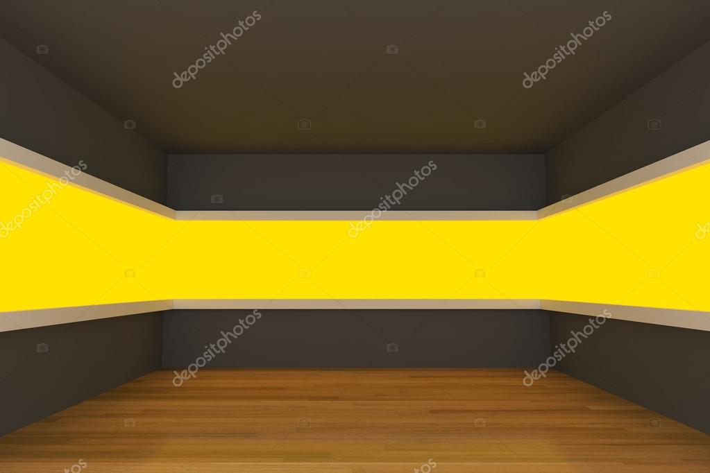 Empty room with light shelves and decorated with wooden floors. — Stock Photo #12318217