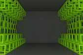 Abstract green square truss wall — Zdjęcie stockowe