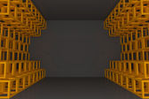 Abstract orange square truss wall — Stock Photo