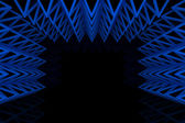 Abstract blue triangle truss wall — Stockfoto