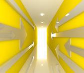 żółty pusty pokój ze strzałką — Zdjęcie stockowe