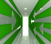 Zielony pokój pusty ze strzałką — Zdjęcie stockowe