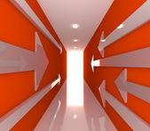 Czerwony pokój pusty strzałka — Zdjęcie stockowe