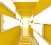Abstraktní žlutý interiér vykreslování — Stock fotografie