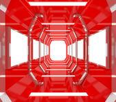 Przyszłość czerwony pustym pokoju — Zdjęcie stockowe