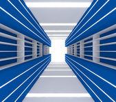 Chambre bleue avec étagère — Photo